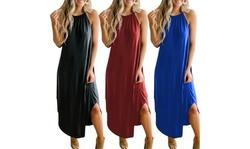 Womens Casual Summer Halter Maxi Loose Dress Beach Cami Dress