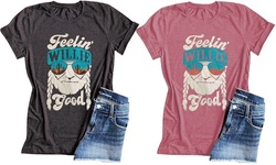 Feelin Willie Good Letter Printed Graphic Top Casual Short Sleeve T-Shirts