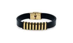 Men's 18K Gold Fancy Leather Bracelet By Elite Force