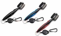 Golf Club Brush Groove Cleaner with Retractable Zip-line Aluminum Carabiner