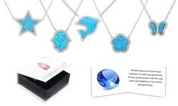 Opal And Cubic Zirconia Halo Pendants by Gemma Luna