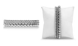 Fine Silver Multi Beaded Stretch Bracelet By Paolo Fortelini