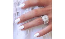 2Pcs/Set Women Charm Crystal 925 Sterling Silver Diamond Ring