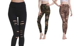 Haute Edition Women's Cutout Ripped High Waist Leggings With Tummy Control