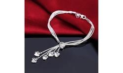 925 Sterling Silver Five Heart Bracelet