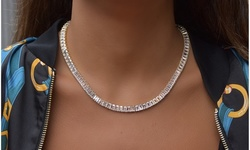 Luxury Emerald Cut Tennis Necklace Made With Cubic Zirconia Stones