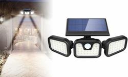 74 LED Solar Lights Outdoor 3 Heads Adjustable Security Spotlight Wall Light