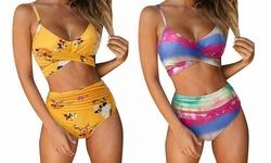 Women Two Piece Padded Tie Back Bikini Swimsuit Swimwear Monokini Beach Wear