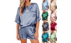 Women's Pajamas Silk Homewear Casual Suit Crew Neck Short Sleeve Shorts Set