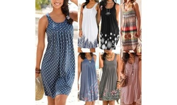 Women Floral Printed Boho Sleeveless Summer Beach Casual Loose Dress
