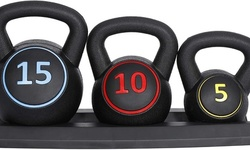 ZENY 3-Piece Kettlebell Set with Storage Rack Weight 5 lbs 10 lbs 15 lbs