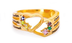 Personalized Mother's Heart Ring w/ Names and Birthstones from MonogramHub (Up to 77% Off). 4 Options Available.