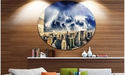Storm Above Manhattan Skyscrapers' Cityscape Photo Circle Metal Wall Art