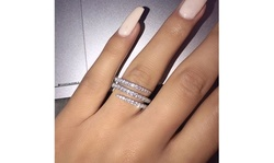 Women 925 Sterling Silver Three Layers Surround Solid  Cubic  Diamond  Ring