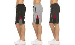 (3-Pack) Men's Moisture Wicking Shorts with Zipper Pockets