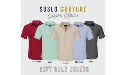Suslo Couture Men's Short Sleeve Wrinkle-Free Guayabera Button Down