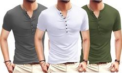 Mens Casual Slim Fit Basic Henley Short Sleeve Fashion Summer T-Shirt