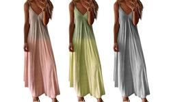Women Summer Dress Gradient V Neck Sleeveless Beach Maxi Dress