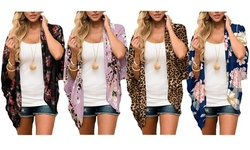 Haute Edition Women's Summer Kimono Cardigan Cover Up in Leopard and Floral