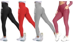 Haute Edition Women's Booty Lift Scrunch Yoga Leggings with Cell Phone Pocket