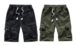 Mens Shorts Cargo Shorts Elastic Drawstring Cotton Casual Lightweight Shorts