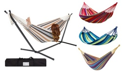 2 Person Strip Cotton Swing Portable Hammock Chair w/ Stand