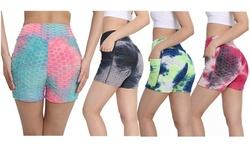 Haute Edition Women's Butt Lifting Tie Dye High Waist Bike Shorts
