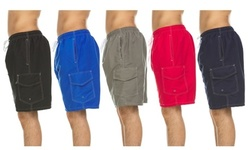Men's Solid Quick Dry Swim Trunks With Cargo Pocket