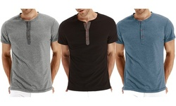 Men's Casual Shirts Front Placket Short Sleeve Henley T-Shirts