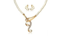 One, Two, Three, or Five Pearl Necklace and Earrings Sets from Novadab (Up to 86% Off)