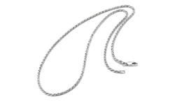 Solid Sterling Silver Italian Diamond Cut Rope Chain Necklace