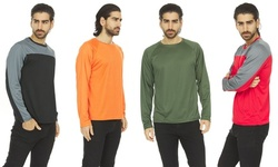 (4 Pack) Men's Active Long Sleeve Tees Wicking Athletic UV Ray Protection