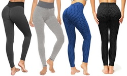 Women's 4 Pack Ruched High-Waist Leggings for Tummy Control & Yoga
