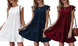 Women's Summer Mini Dress Ruffle Sleeve Loose Fit Flowy Pleated Dress