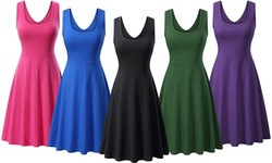 Haute Edition Women's Sleeveless Scoop Neck A-Line Skater Jersey Dress with Plus