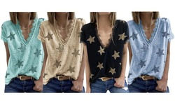 Haute Edition Women's Star Printed V-Neck Lace Trim Tee