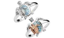 Women's 925 Sterling Silver Fashion Turtle Aquamarine Crystals Rings