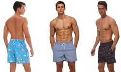 Suslo Couture Men's Quick Dry Printed Swim Trunks with Front & Back Pockets