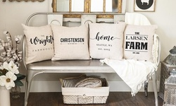 Personalized Farmhouse-Style Throw Pillow Covers from Qualtry (Up to 72% Off)
