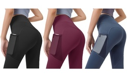 Haute Edition Women's High Waist Tummy Control Legging With Mesh Phone Pocket