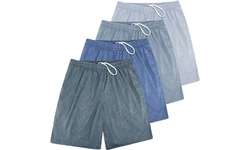 Active Club 4 Pack Assorted Men's Knit 100% Polyester Training Shorts