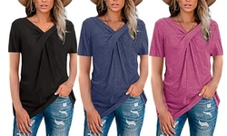 Womens Short Sleeve V Neck T Shirts Tops Casual Tunic Tops Blouse Tees