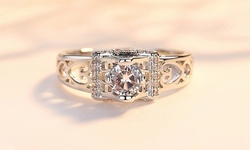 Leo Rosi Exquisite Created Diamond Ring in 18K White Gold Filled