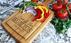 One or Two Personalized Cutting Boards with Large Handles and Juice Grooves from Qualtry (Up to 60% Off)
