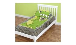 ZippySack Dinosaur Twin Size Bedding Solution with Zipper Closure (Green) - New