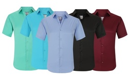 Sulso Couture Men's Short Sleeve Performance Solid Button Down Shirt
