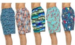 Men's Printed Quick Dry Swim Shorts with Cargo Pocket (M-2XL)