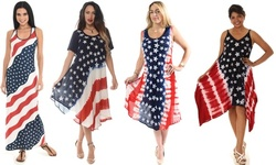 Women's  American Flag Stars and Stripes Patterns Dresses (also in Plus Size)