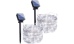 2 Pack Outdoor Solar String Lights 72ft 200 LED  Starry Lights 8 Modes
