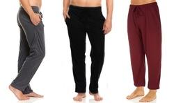 (3 Pack) DARESAY Men's Soft Jersey Knit Lounge Sleep Pants with Pockets
